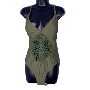 NEW Green crochet front one piece bathing suit